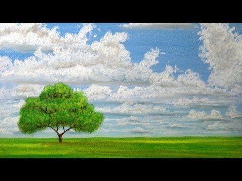 How To Draw Landscape With Pastels Cloudy Sky Time Lapse Oil Pastel Techniques Pastel Landscape Pastel Clouds