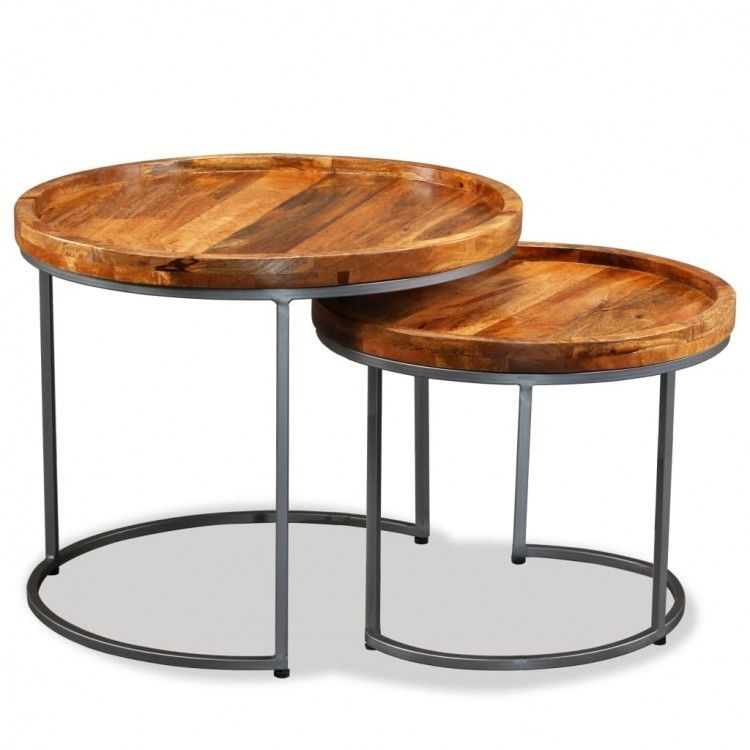 Wooden Side Table Set Of 2 Nightstand Retro Coffee Stand Living Room Furniture Coffee Table Round Wood Side Table Wooden Side Table