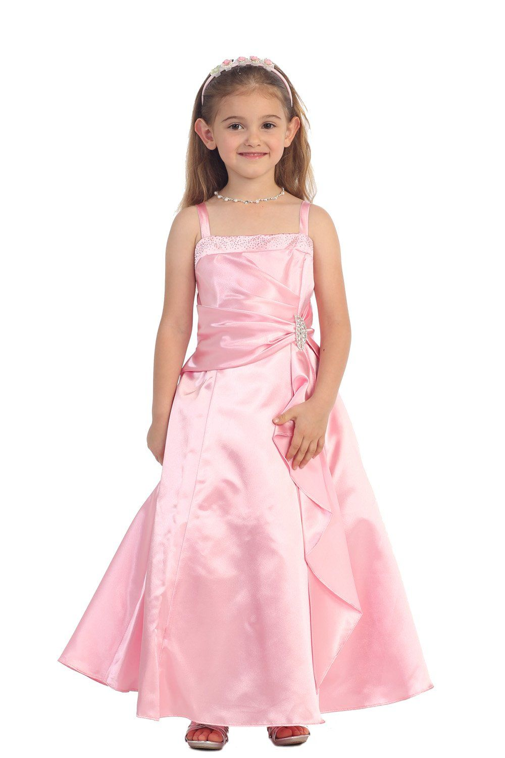 bf23487850 Pink Brilliant Satin Ruffle Detail A-line Flower Girl Dress with Sparkles