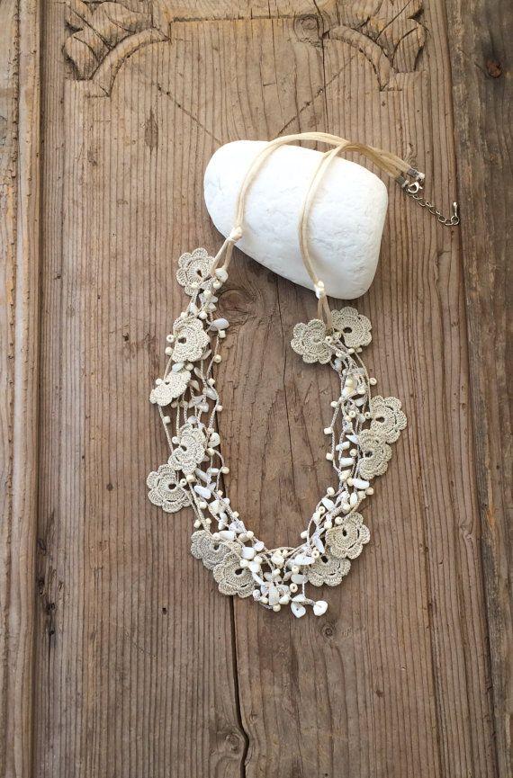 Multistrand Necklace, Crochet Necklace, Beaded Bib Collar, Unique ...