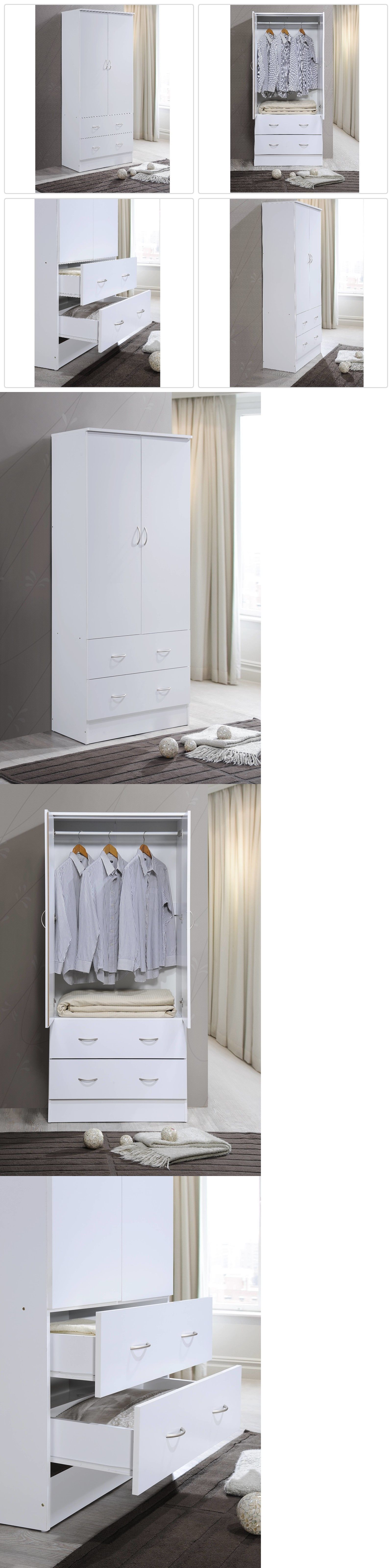 Armoires And Wardrobes 103430 Modern White 2 Door Wardrobe Clothes Armoire Storage Drawers Bedroom Furniture It Now Only 139 96 On Ebay