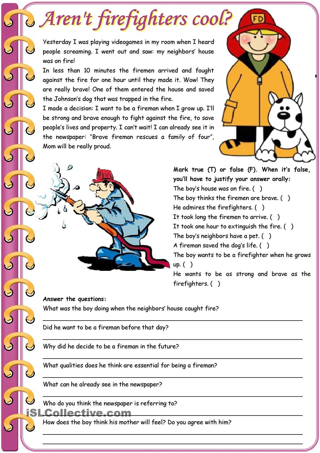 Worksheet Elementary Reading Comprehension Test free printable reading comprehension worksheets firefighters cool grammar comparative
