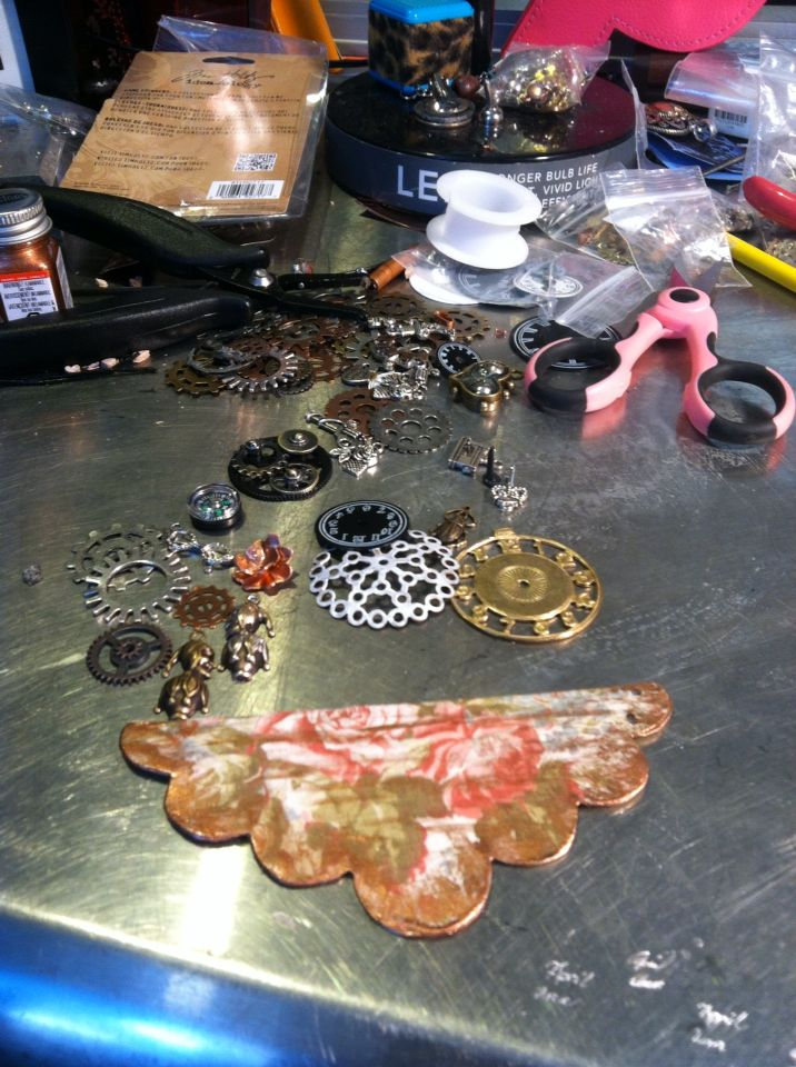 WTW 04/15/15 creating a Steampunk bib by April Ann Jewelry.