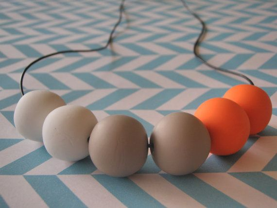 Polymer clay necklace, chunky, orange, white, latte on Etsy, $35.00 AUD