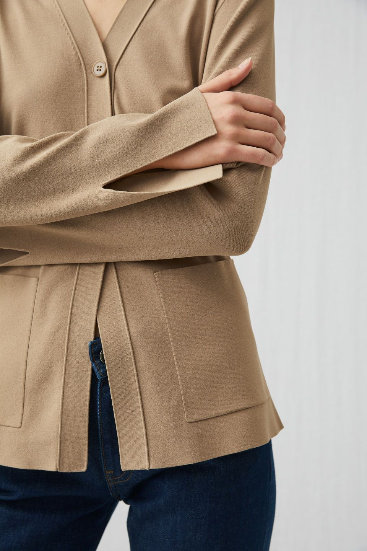 a2bd7faa3d Fitted Jersey Cardigan - Beige - Knitwear | knitwear | Knitwear ...