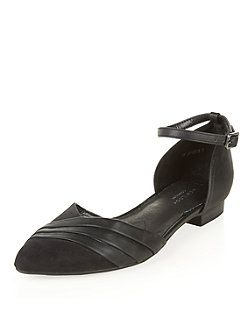 Black Comfort Pointed Ankle Strap Pumps  | New Look