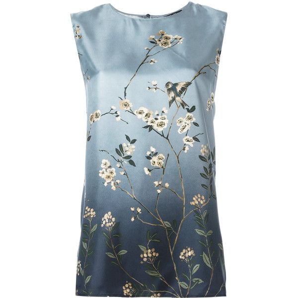 'S Max Mara sleeveless floral print blouse ($167) ❤ liked on Polyvore featuring tops, blouses, blue, sleeveless silk blouse, blue sleeveless blouse, silk blouse, floral print blouse and floral sleeveless top
