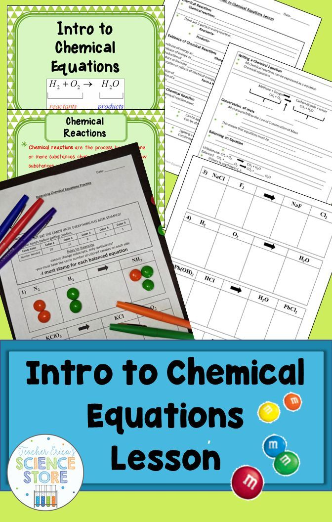 Introduction to Chemical Equations Lesson Equation, Activities and - scientific method worksheet