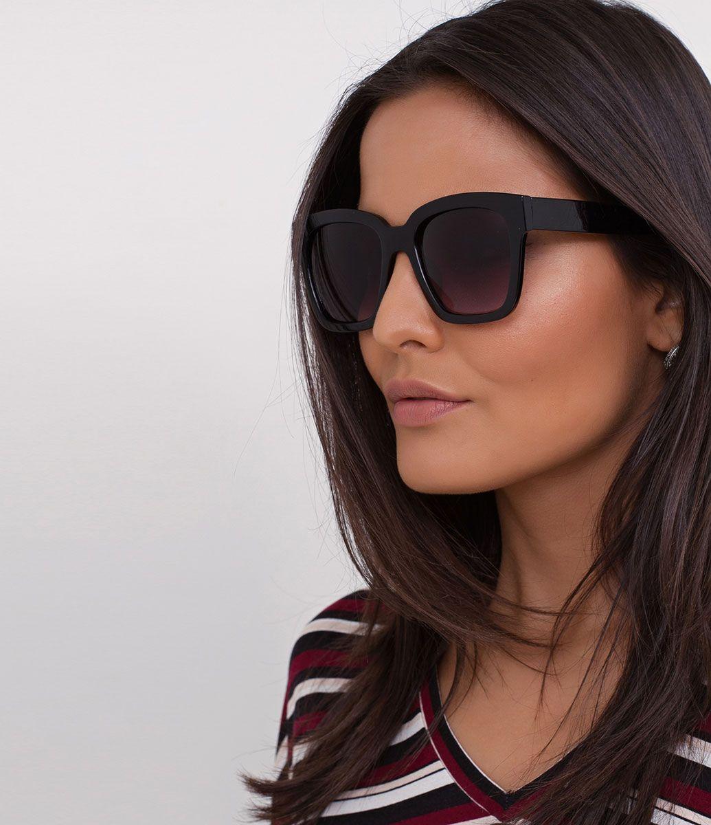 32566676d Óculos de sol Modelo quadrado Hastes em acetato Lentes fumê degradê  Proteção contra raios UVA /