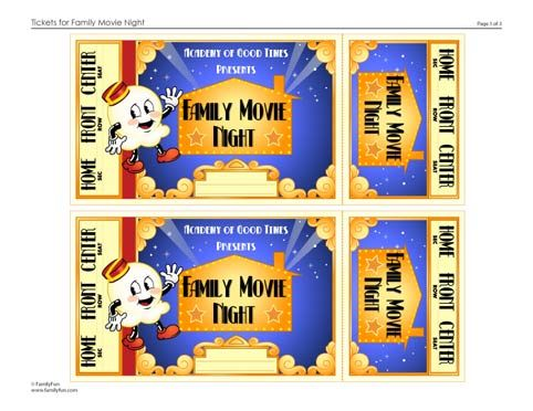 Family Movie Night Tickets (Printable Activity for Kids - create your own movie ticket