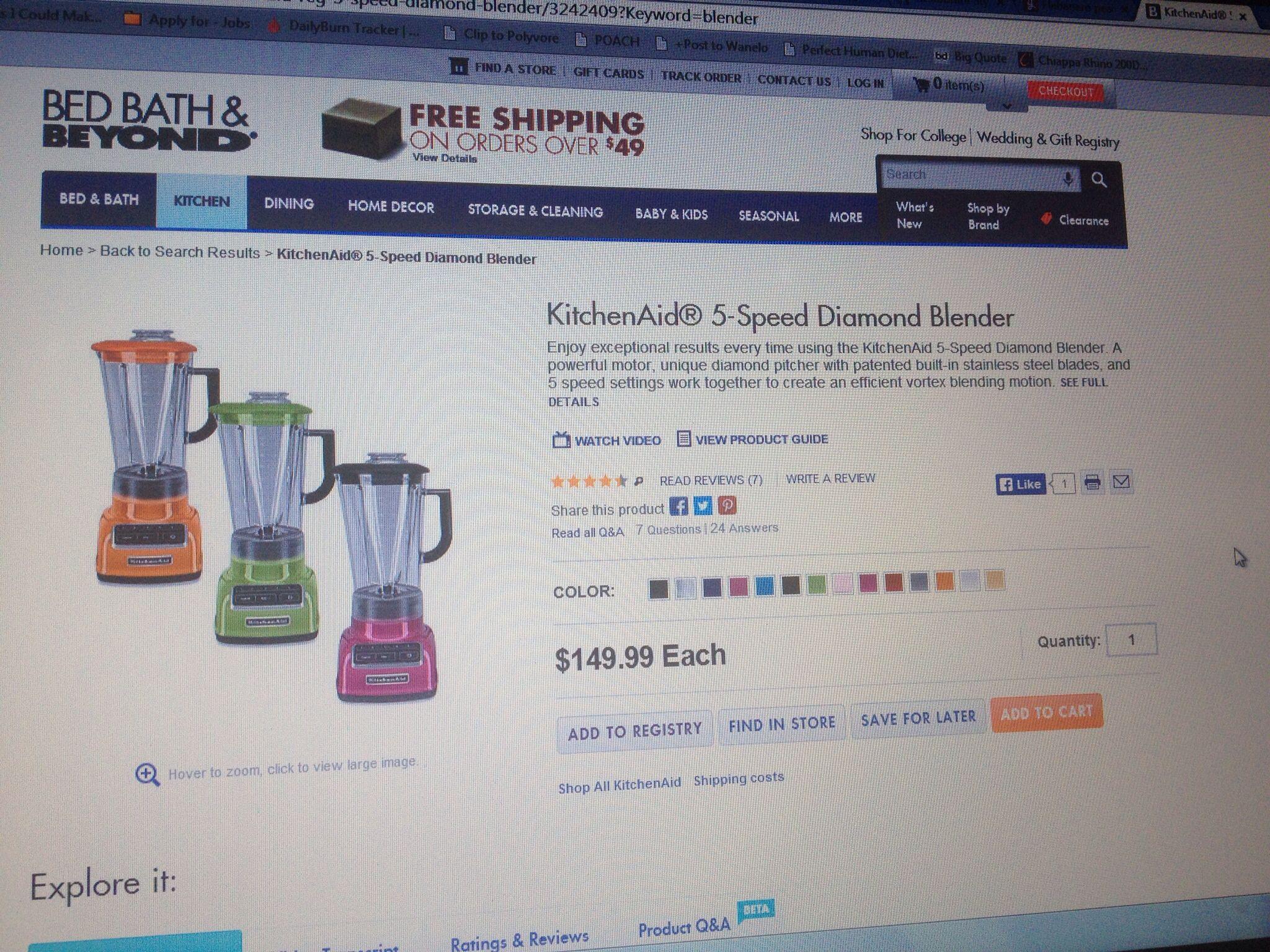 Kitchenaid blender at bbb put that 20 discount to good