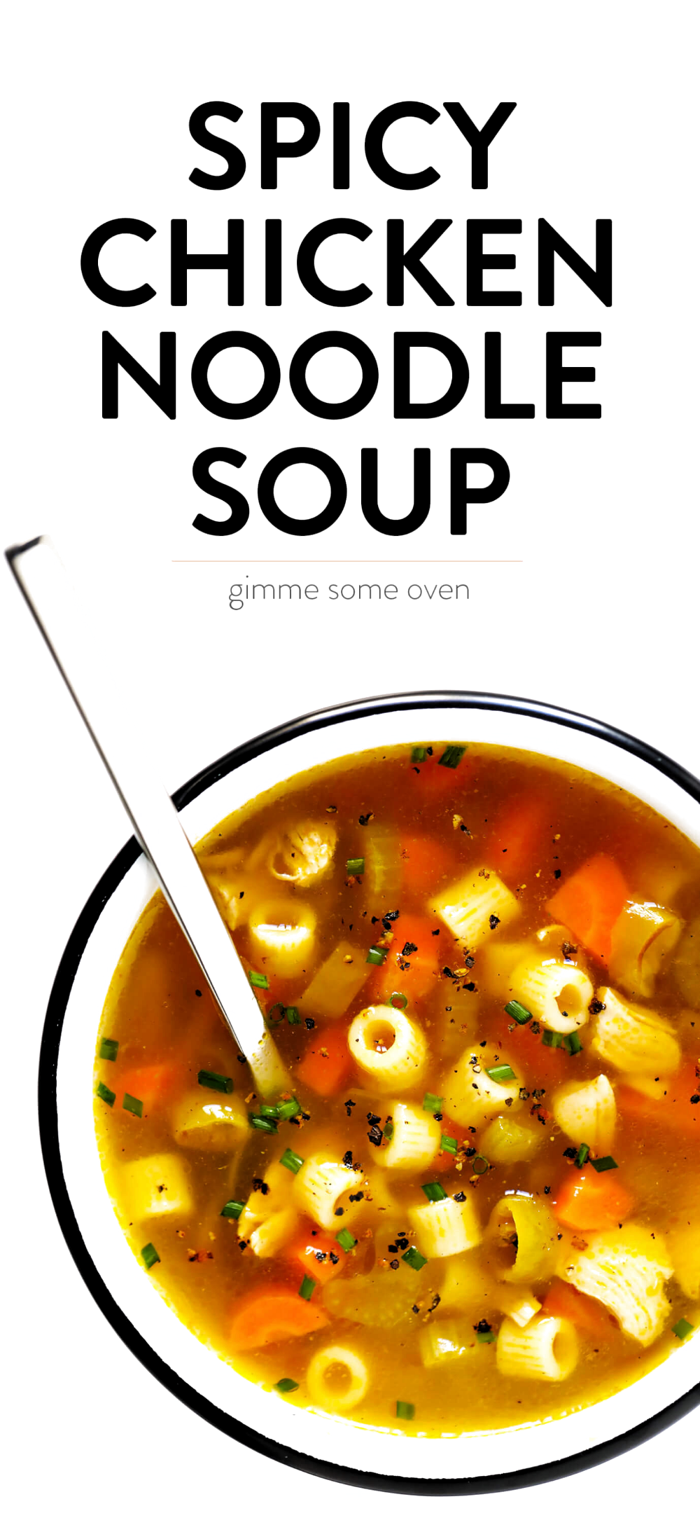 LOVE this Spicy Pepperoncini Chicken Noodle Soup recipe! Its quick and easy to make, and the pepperoncini peppers add the perfect extra bit of heat and tang. Total comfort food!   gimmesomeoven.com #soup #chicken #chickennoodlesoup #pepperoncini #italian #spicy #comfortfood #dinner #recipe
