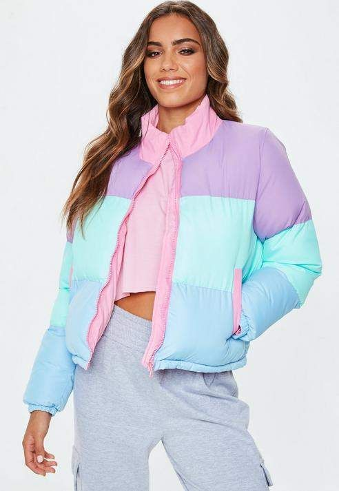 6f52185bed77 Missguided Multi Pastel Colour Block Puffer Jacket