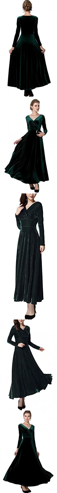 fba3d8d765e Urban CoCo Women long sleeve V-neck Velvet Stretchy Long Dress (X-Large
