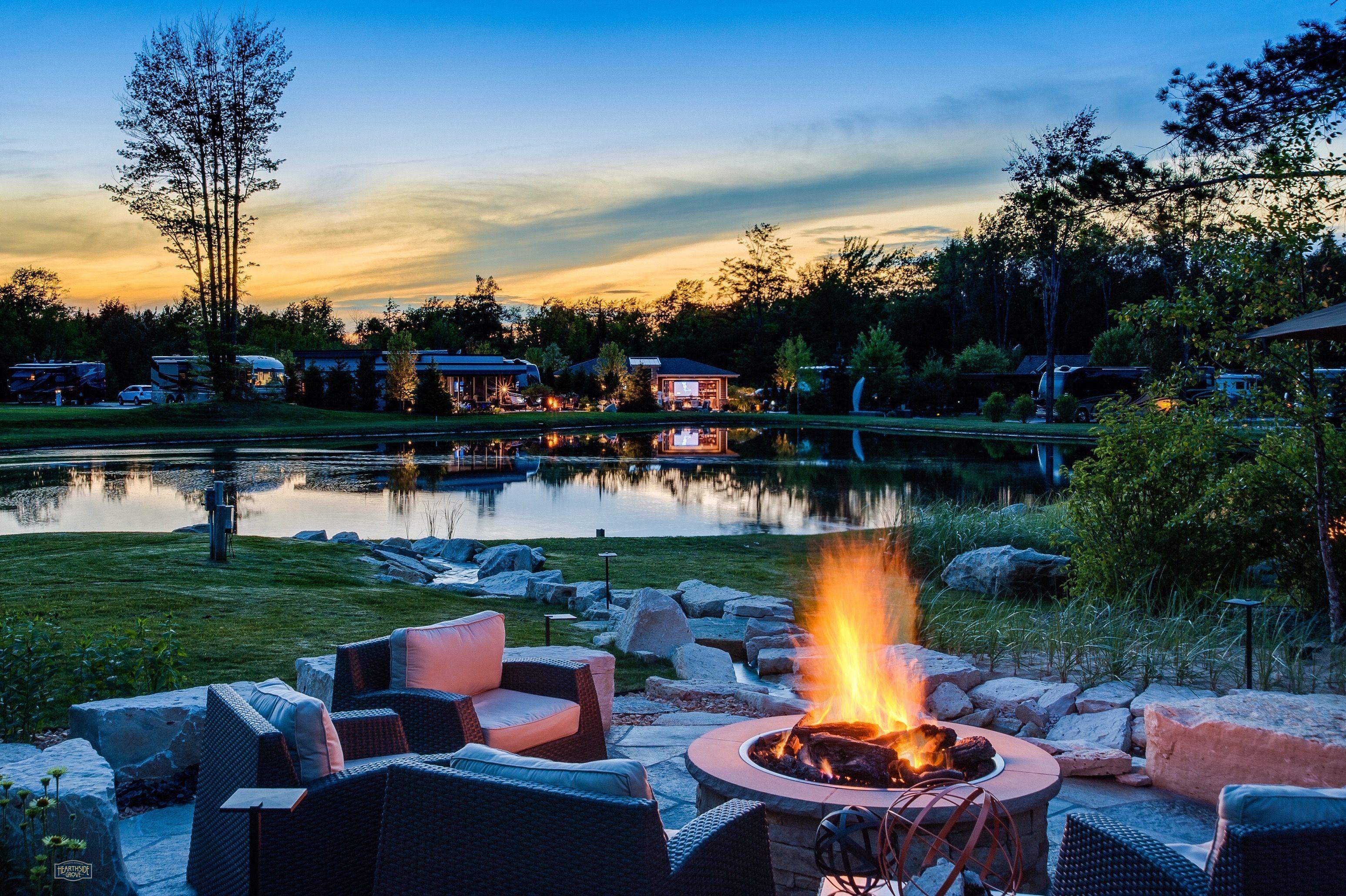 Hearthside Grove Luxury Motorcoach Resort Lot 145   #exterior #outdoor  #firepit #gas