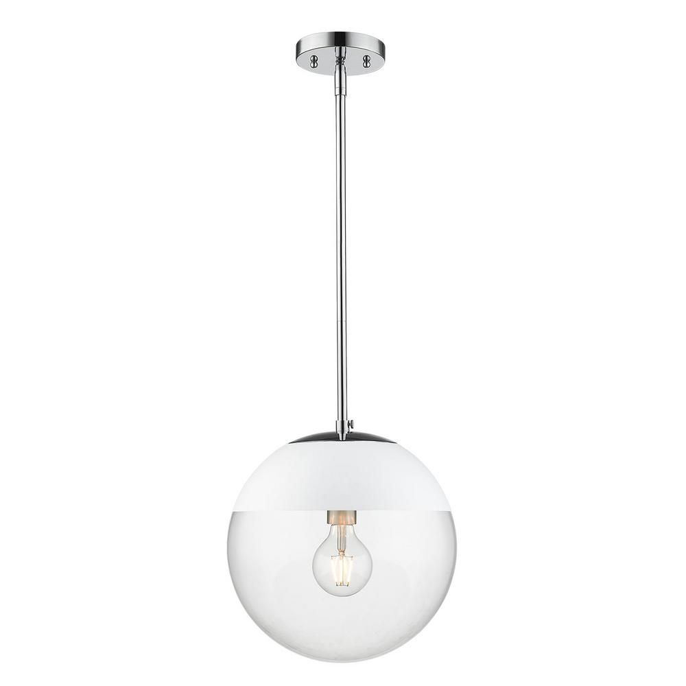 Golden Lighting Dixon 1 Light Chrome With Clear Glass And Chrome