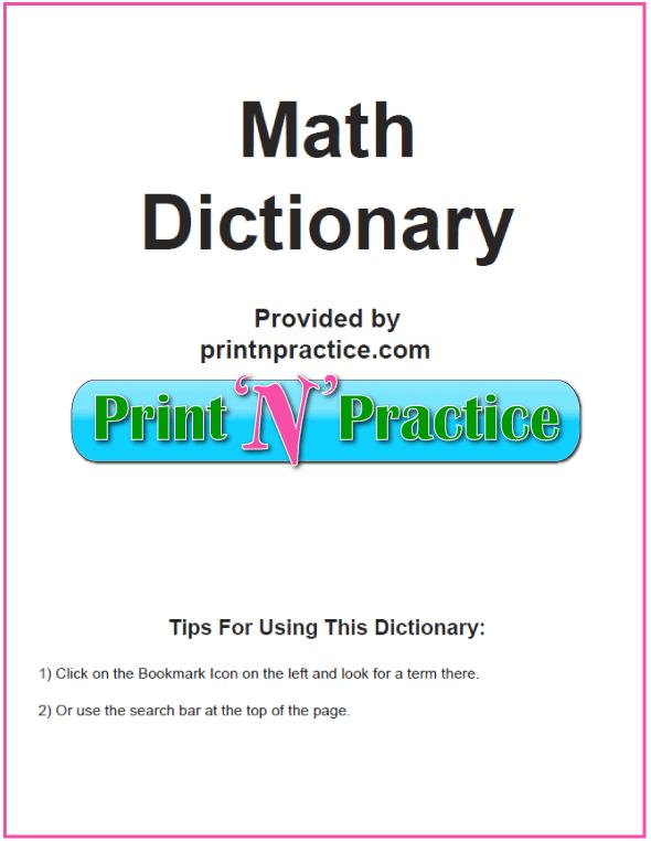 Math Dictionary For Kids Printable Or Digital Math Definitions Kids Worksheets Printables Dictionary For Kids Printable Math Worksheets