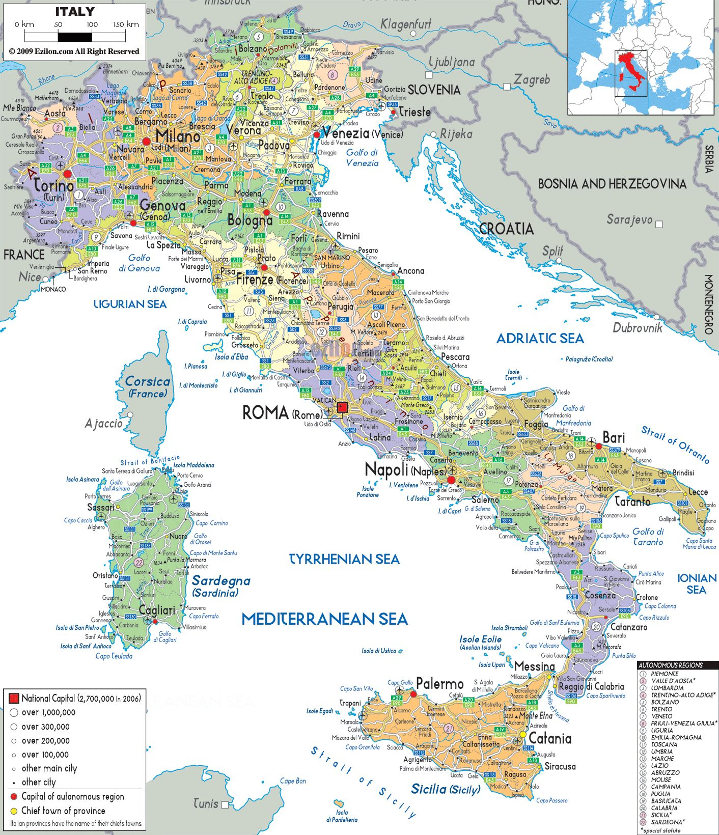 Map Of Italy With Cities map of Italy with all cities roads