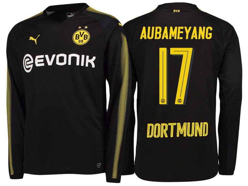 Borussia Dortmund 2017 18 Ls Away Shirt Pierre Emerick Aubameyang Borussia Dortmund Dortmund Soccer Shirts