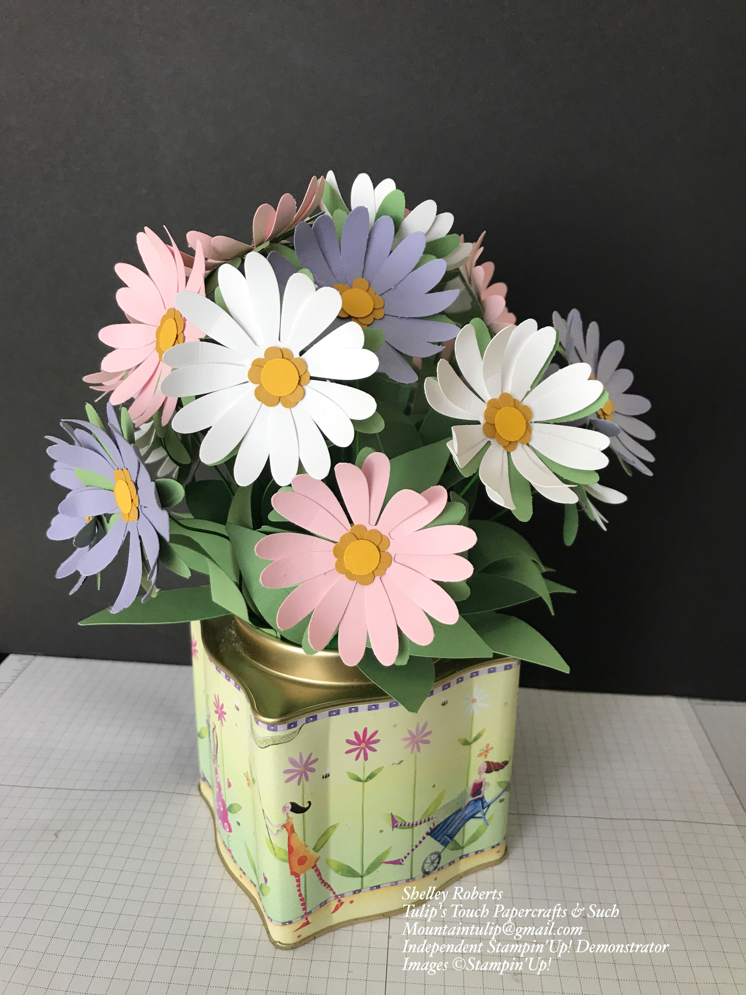 daisy flowers made with heavy card stock and stampin'up