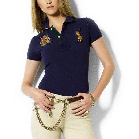 Women Sale Authentic New Ralph Lauren Classic Polo Logo Navy Short Sleeved Pony