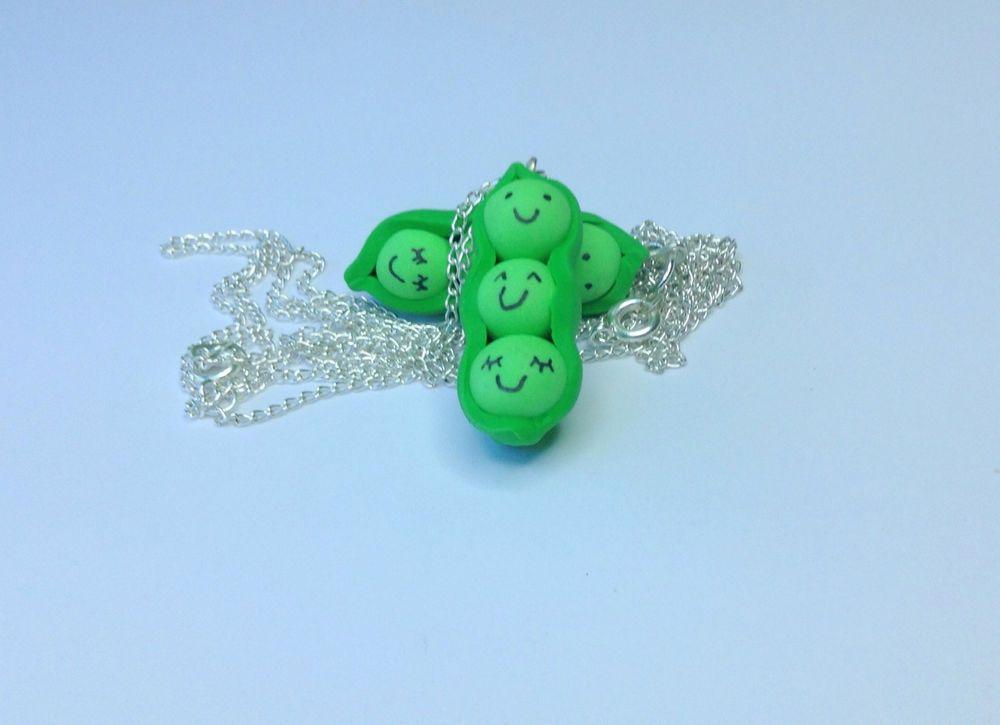 Cute peas in a pod necklace/bag charm/ friendship/handmade/gift/fun/polymer clay