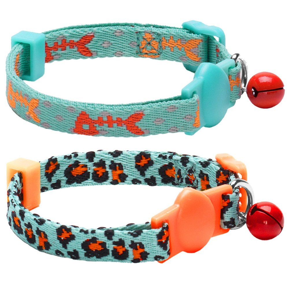 Blueberry Pet Pack Of 2 Cat Collars Hunting Expedition With Fish Bone And Leopard Print Adjustable B Personalized Cat Collars Cat Collars Breakaway Cat Collars