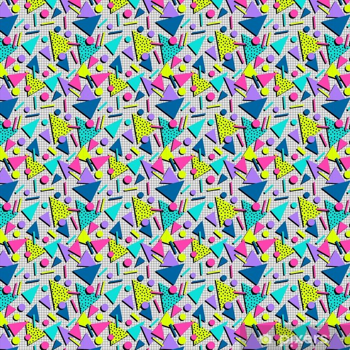 Retro 80s seamless pattern background Self-adhesive custom-made wallpaper • Pixers® - We live to change