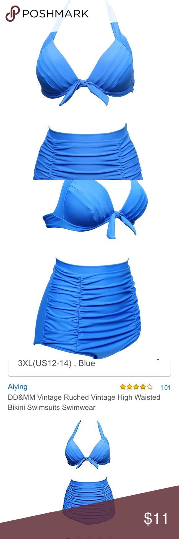 Blue Retro PInup High-waisted Bikini Women's Blue Retro PInup High-waisted Bikini Glamorous Swimwear. Brand new, never worn. Swim Bikinis