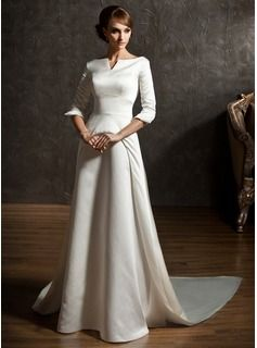 e8d95ef4 A-Line/Princess Off-the-Shoulder Watteau Train Satin Wedding Dress  (002004779) - JJsHouse