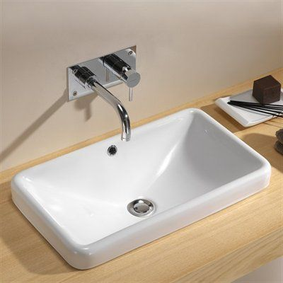 Bissonnet 118900 Traffic Meridian Rectangular Self Bathroom Sink White