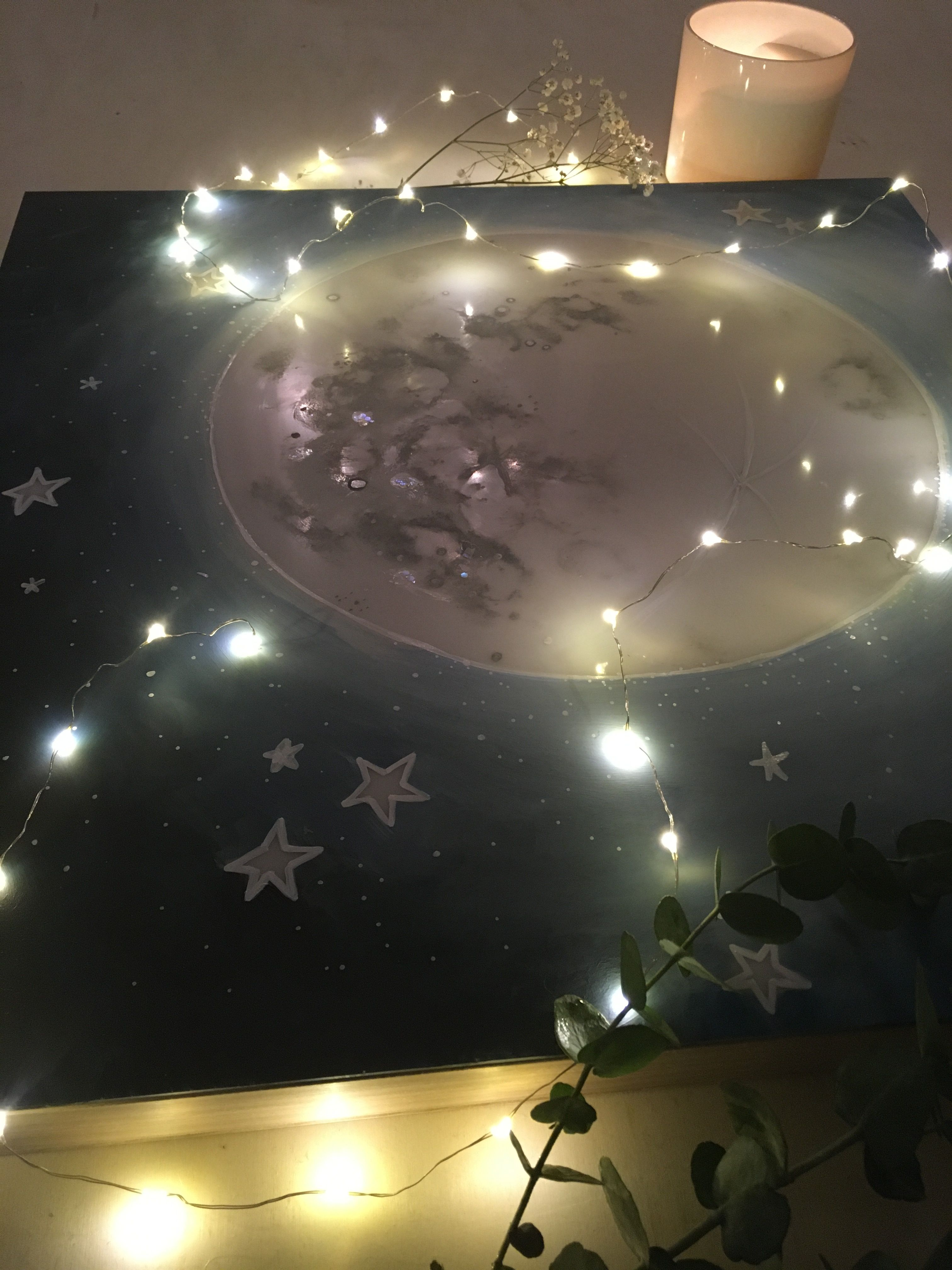 Moonlight Mond Lampe Hochzeitsfloristik Trockenblumen