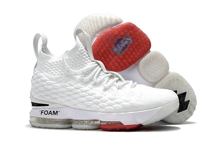 free shipping 07f4f 90f76 Lebrons 15 OFF-WHITE x Nike James 15 White Red Shoes Sale