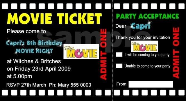 Movie Ticket Birthday Invitations For Kids Birthday Ideas   Movie Ticket  Invitations Printable Free  Movie Ticket Invitations Template