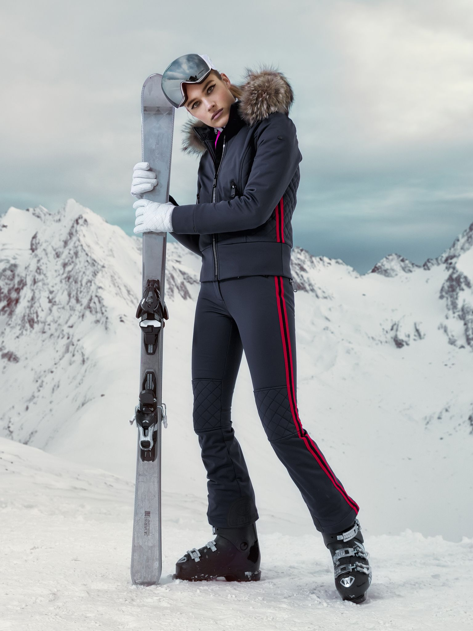 Ski Outfit With Red Stripes Altezza Fur Jacket And Flairo Skipant