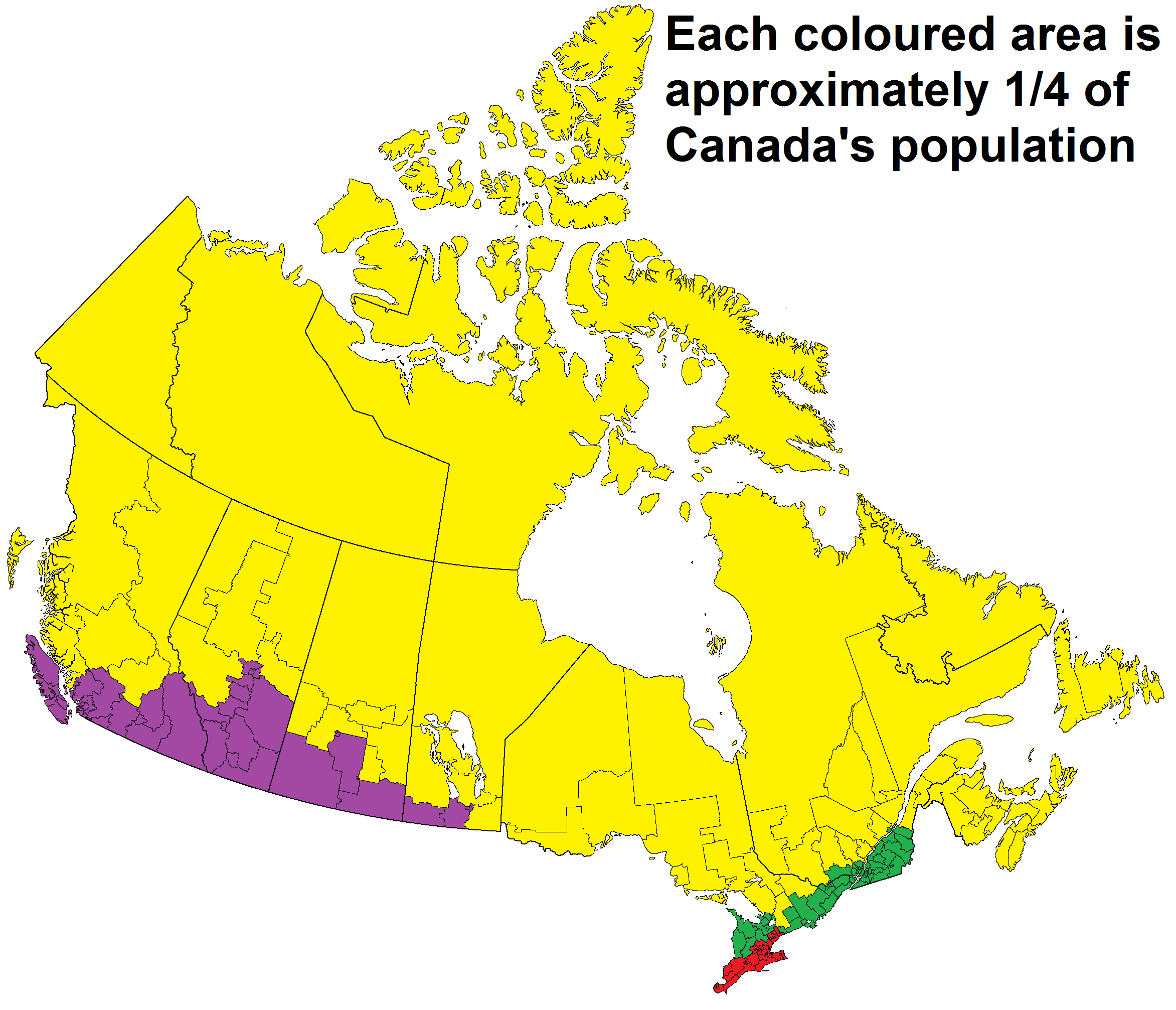Population distribution in Canada Map, Canada, World