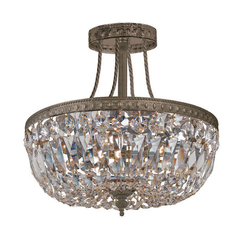 Crystorama 119-12-EB-CL-SAQ 3-Lights Swarovski Spectra Semi Flush Crystal Basket - English Bronze