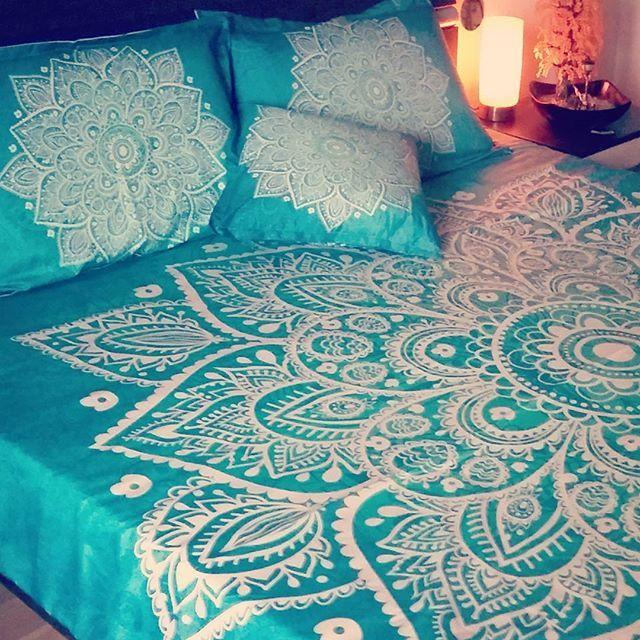 amusing green turquoise bedroom | Turquoise green lace mandala boho bedding set to transform ...