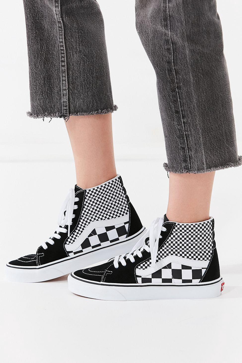 Urban Outfitters Vans Mix Checkerboard Sk8-Hi Sneaker - Black + White 15683af71