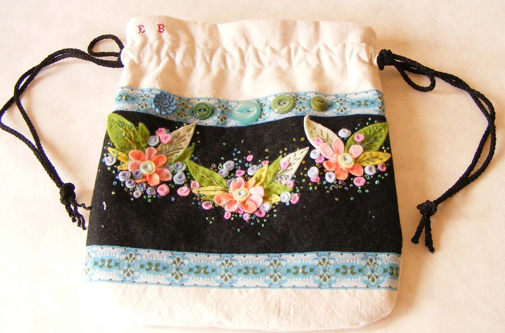 https://flic.kr/p/7MpijN | dorothy bag | hand embroidery, felt flowers on black felt with vintage ribbon.  bag constructed from beautiful old washed worn french cotton.