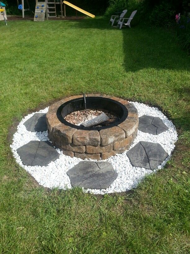 Lowes fire pit kit. Stones on the outside are sold