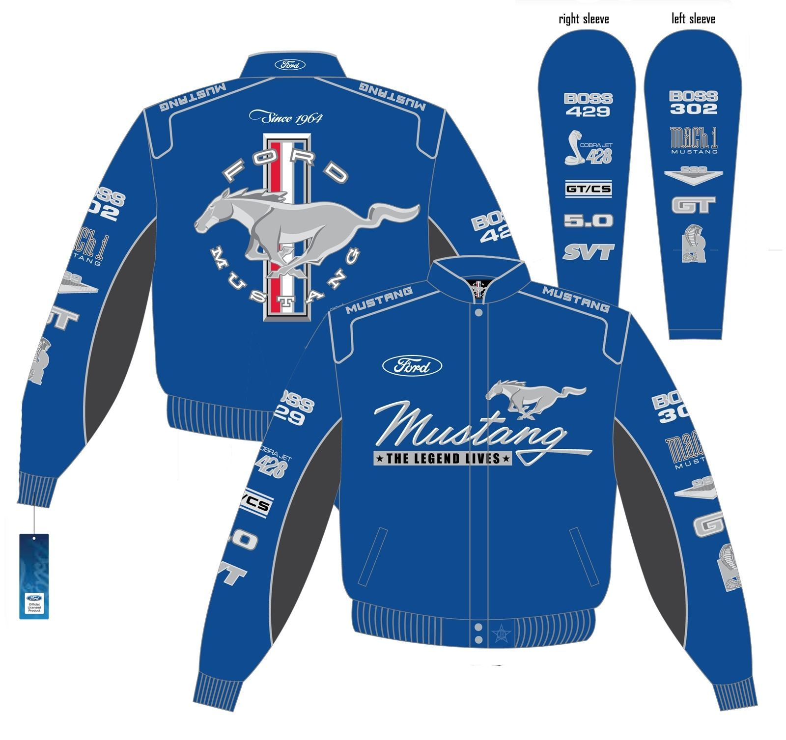 Blue Mustang Multi Logo Jacket With Mach 1 Boss Gt Cs Cobra