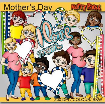 Mothers Day Clipart Freebie Includes Images Of Boys And Girls Standing Boy Frame Topper Girl Holding A Love Heart Pre