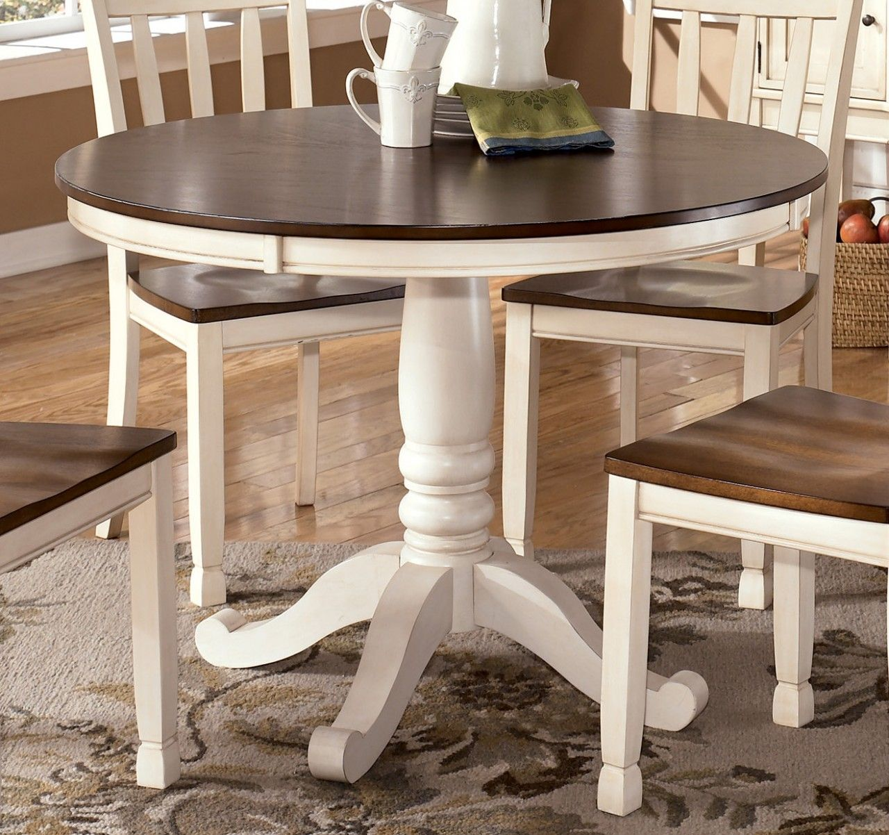 Whitesburg Round Dining Table In Brown White Round Dining Room