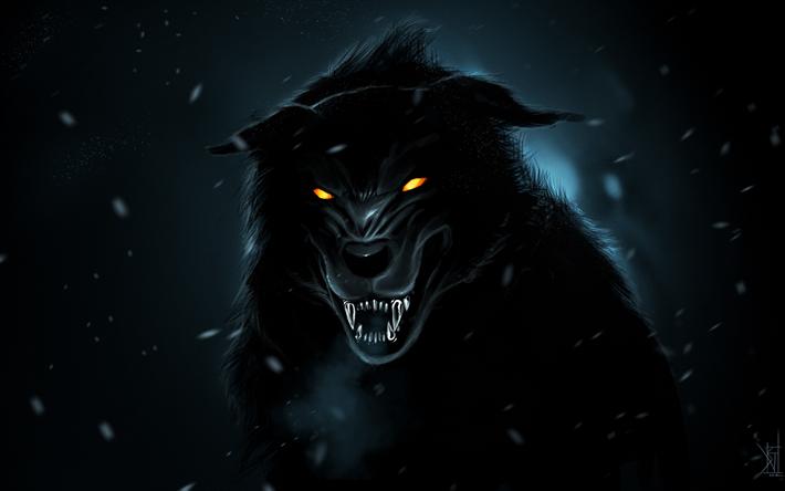 Download Wallpapers Black Wolf 4k Art Night Predators Wolf Besthqwallpapers Com Wolf Wallpaper Black Wolf Shadow Wolf