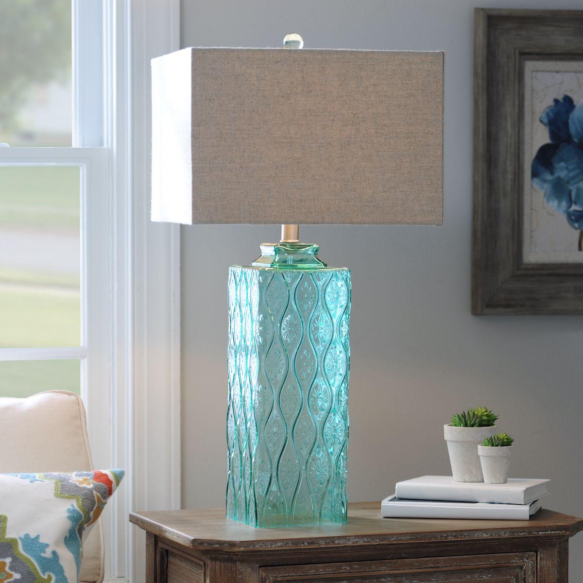Blue glass table lamps  Embossed Aqua Glass Table Lamp  Aqua glass Glass table lamps and