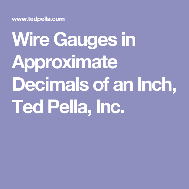 Wire gauge to decimal inches gallery wiring table and diagram wire gauges in approximate decimals of an inch ted pella inc wire gauges in approximate decimals greentooth Gallery
