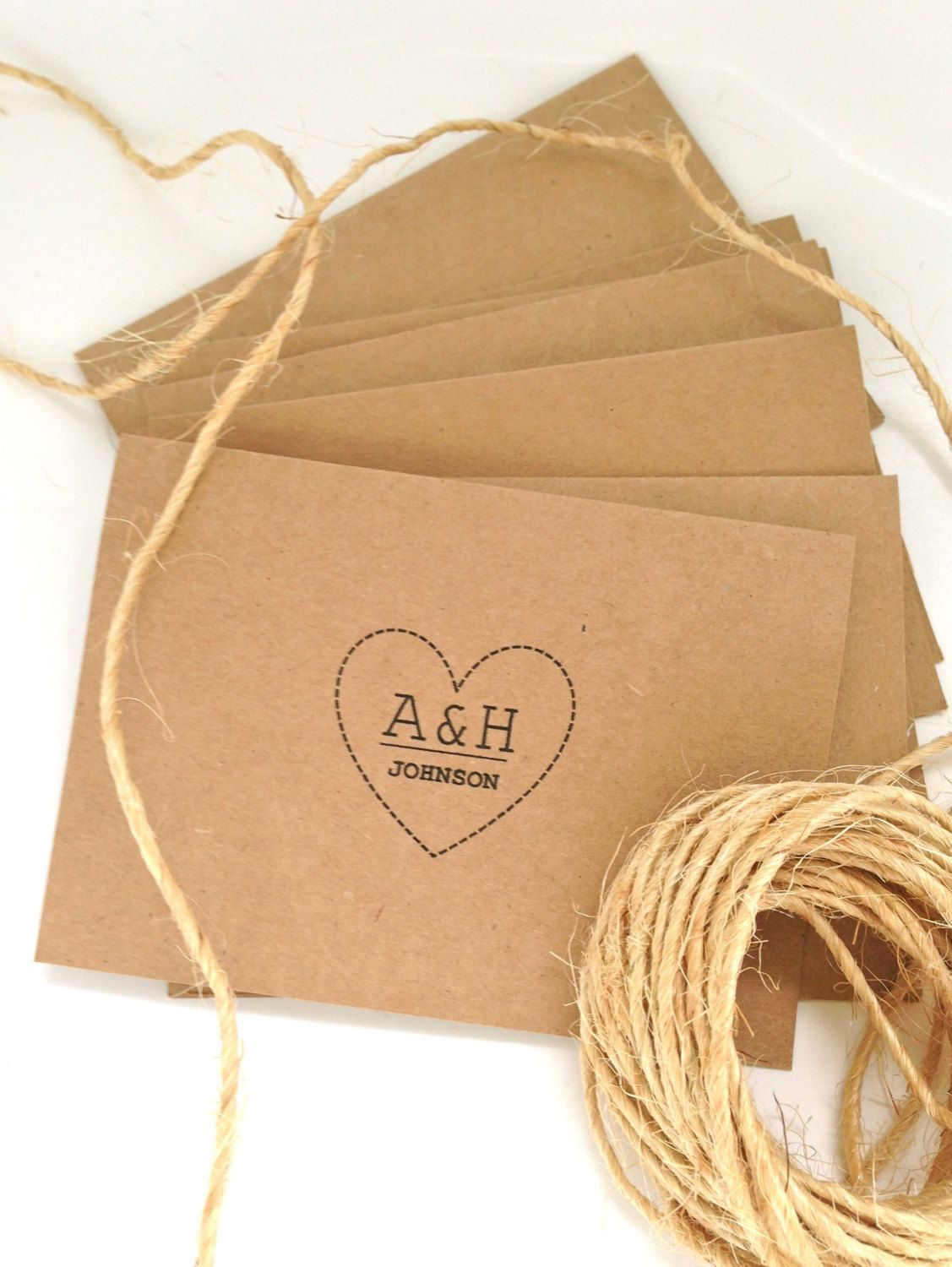 20 Customised Wedding Thank you cards/invitations. Initials and surname heart insignia. Country chic.