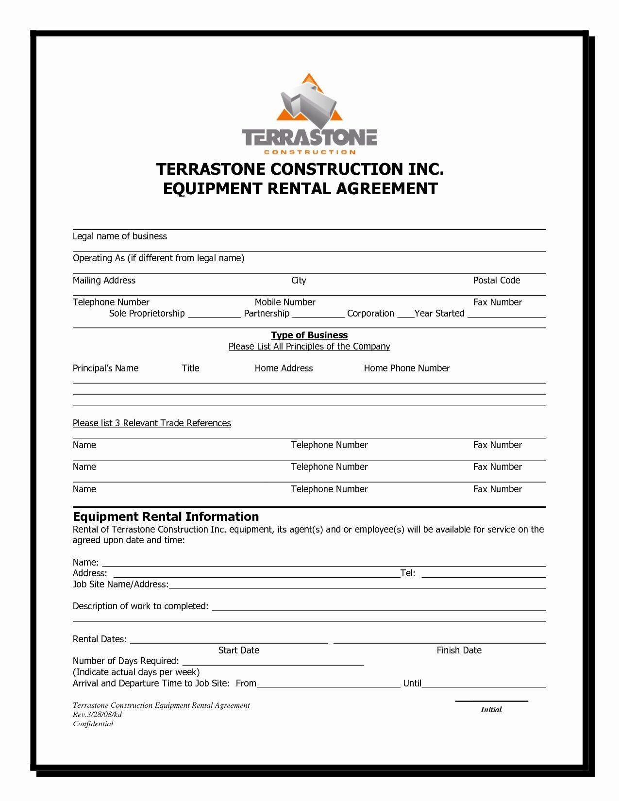 Equipment Purchase Agreement Template Unique Construction Equipment Purchase Agreement New 13 Best Rental Agreement Templates Contract Template Templates