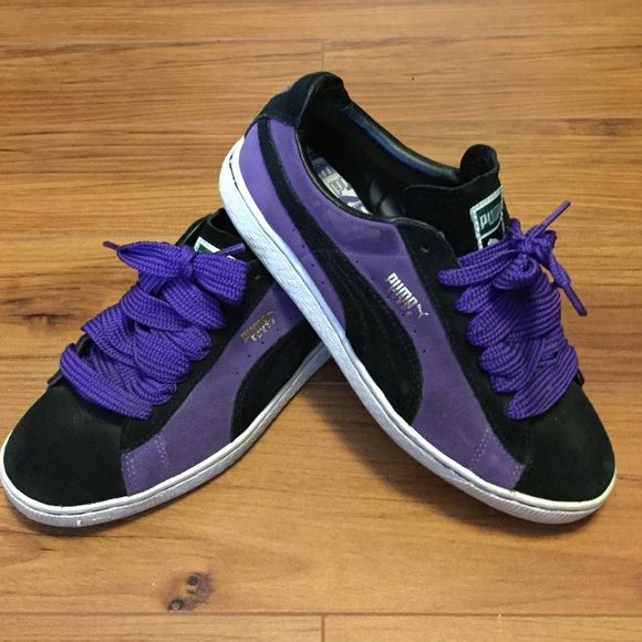 cac890b6c1d Original Puma Suede Clydes For the HipHop Head in you! Puma Clyde black and  purple suede sneaker. Comes with purple fat laces